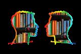 zwei Köpfe gefüllt mit Büchern